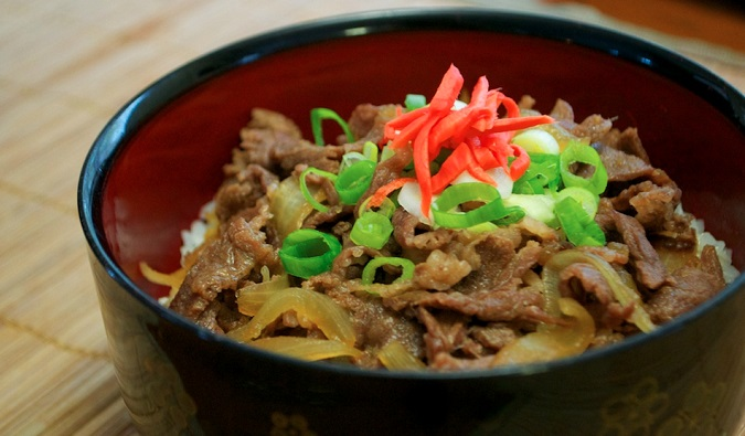 Gyudon is a good way to eat a balanced meal for a very cheap price