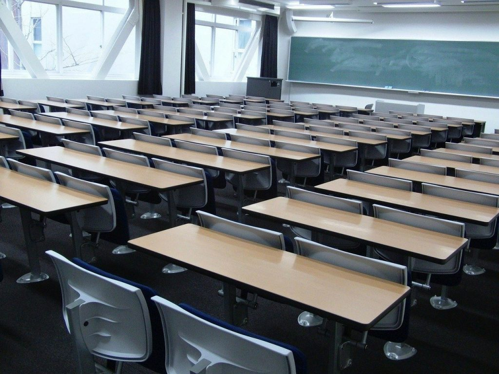a photo of a fully-furnished classroom | effects of coronavirus for students in japan